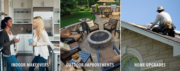 A collage showing indoor makeovers, outdoor improvements, and home upgrades