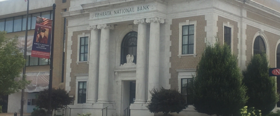 Exterior image of the Ephrata National Bank main office in the Ephrata PA location