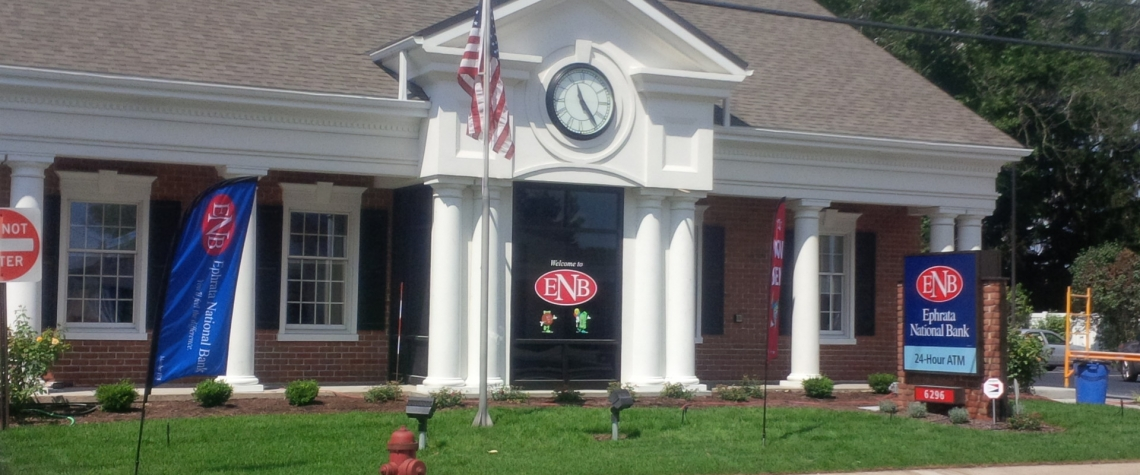 Exterior image of the Ephrata National Bank in the Morgantown PA location