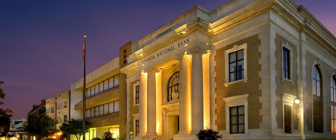 Exterior image of the Ephrata National Bank financial corporation at night