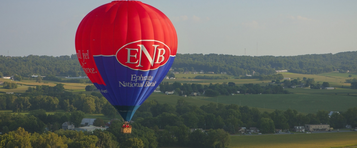 The ENB balloon over scenic Lancaster county