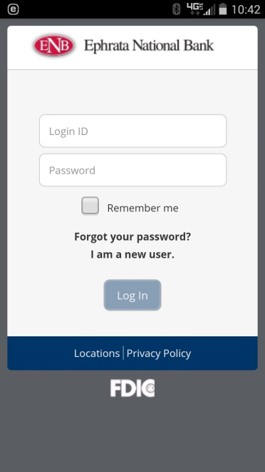 Mobile Banking Login Screen