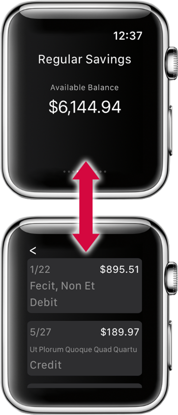 Example ENB Apple Watch app screen showing flow of user interface