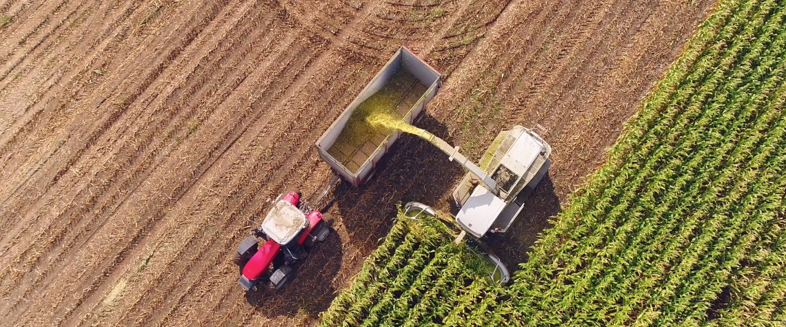 Farm machines harvesting corn in Autumn, aerial view.