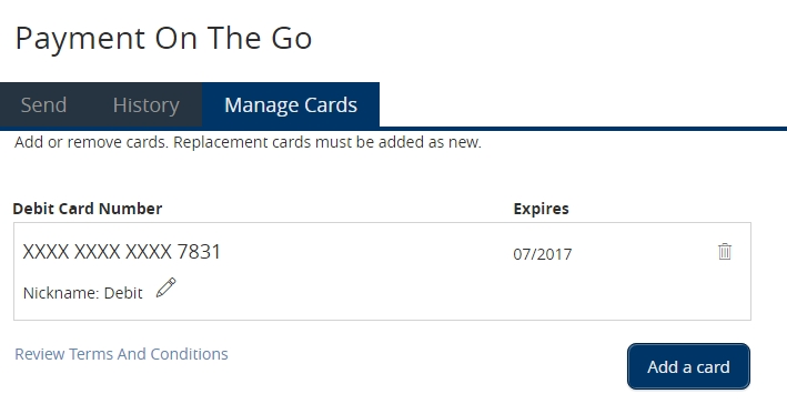 Payment on the Go Add Debit Card