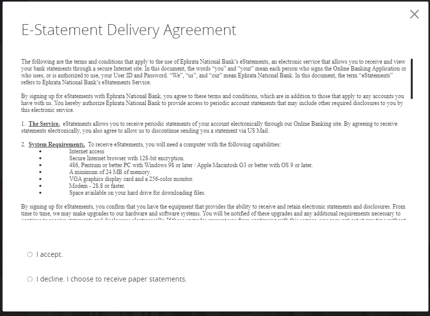 Updated eStatement of Agreement