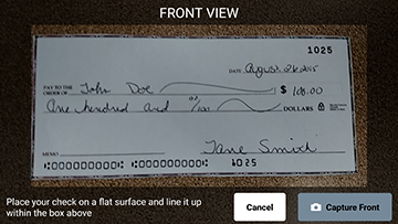 front of the check for mobile deposit